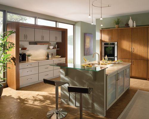 sleek glass on base cabinets