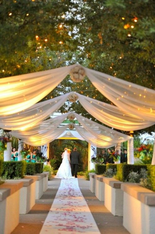 160 best wedding ceremony ideas and inspiration images on pinterest how pretty is this outdoor wedding lighting idea lighted ceiling banners could work inside or out possible indoor ceremony and outdoor reception junglespirit Gallery