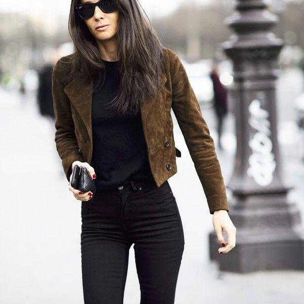 Dark Brown Suede Blazer Outfits For Women - Cladem